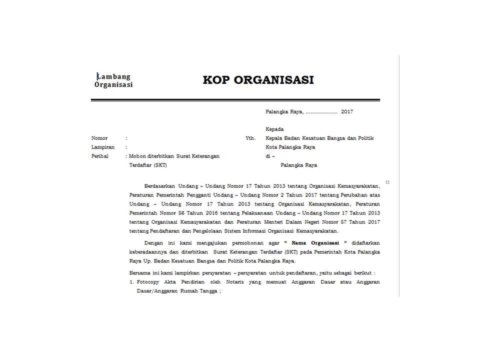 Surat Pendaftaran Ormas Badan Kesatuan Bangsa Dan Politik