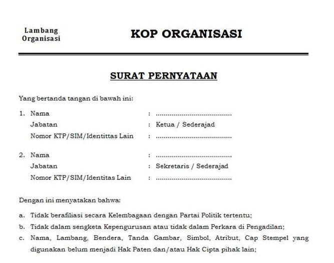 Surat pernyataan organisasi badan kesatuan bangsa dan politik contoh surat pernyataan organisasi silahkan download file di bawah ini thecheapjerseys Image collections