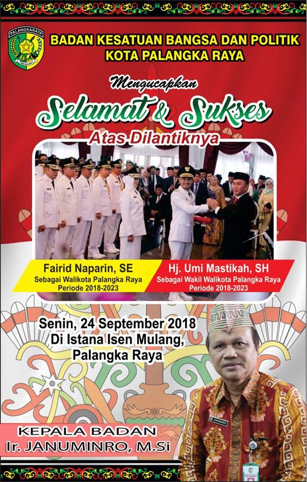 Pelantikan Walikota-Wakil Walikota Palangka Raya 23/9/2018