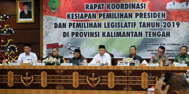 Walikota Palangka Raya Hadiri Rapat Koordinasi Persiapan Pemilu 2019 Provinsi Kalteng